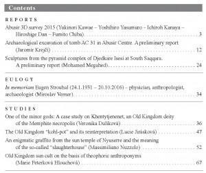 Prague Egyptological Studies XVII/2016 obsah